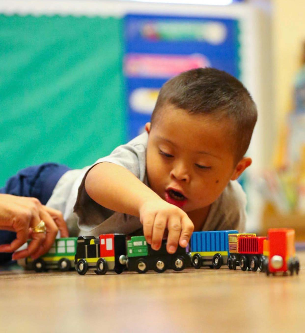 Boy Playing with train
